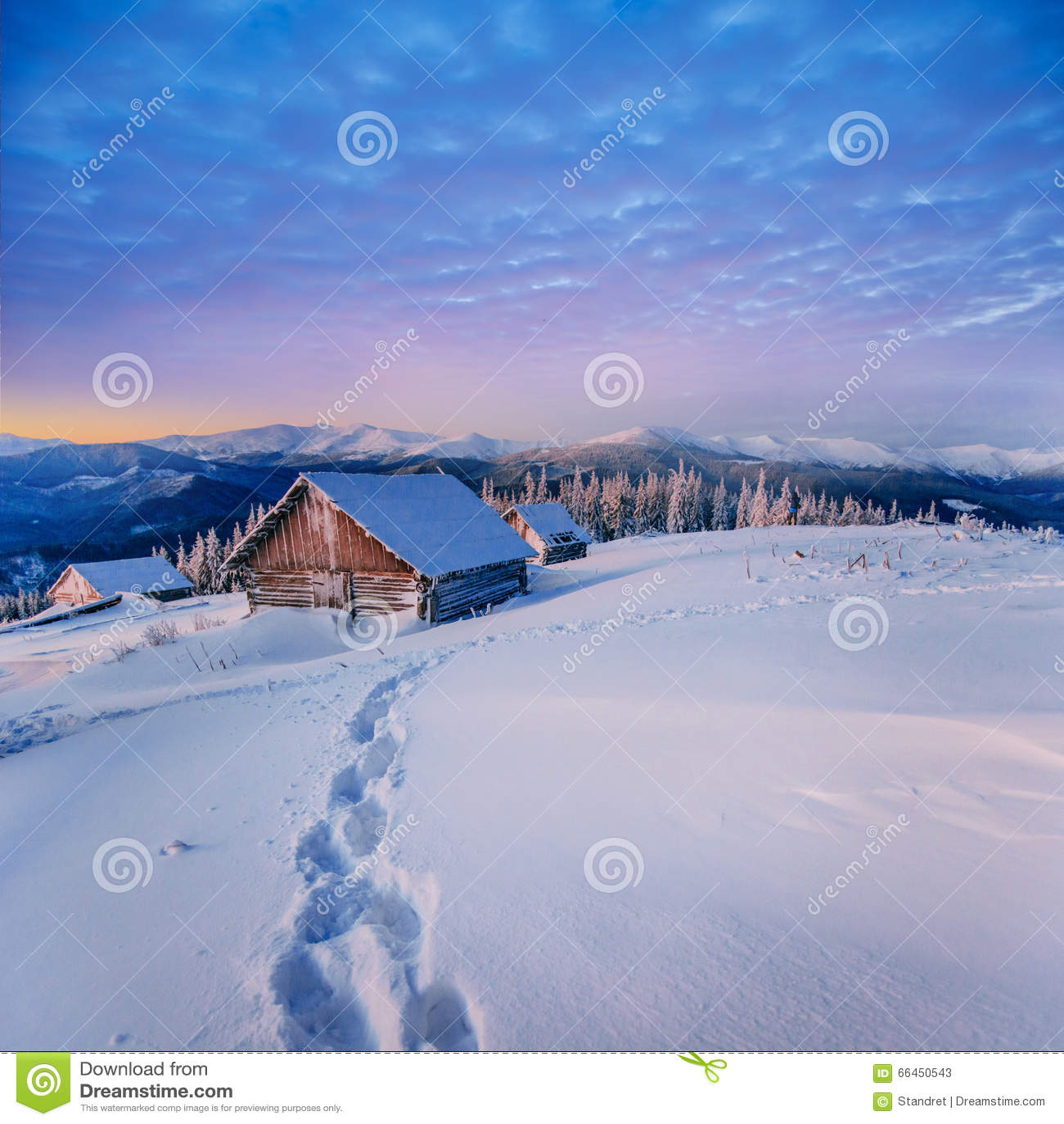 Paisaje fantástico del invierno Cárpato, Ucrania, Europa