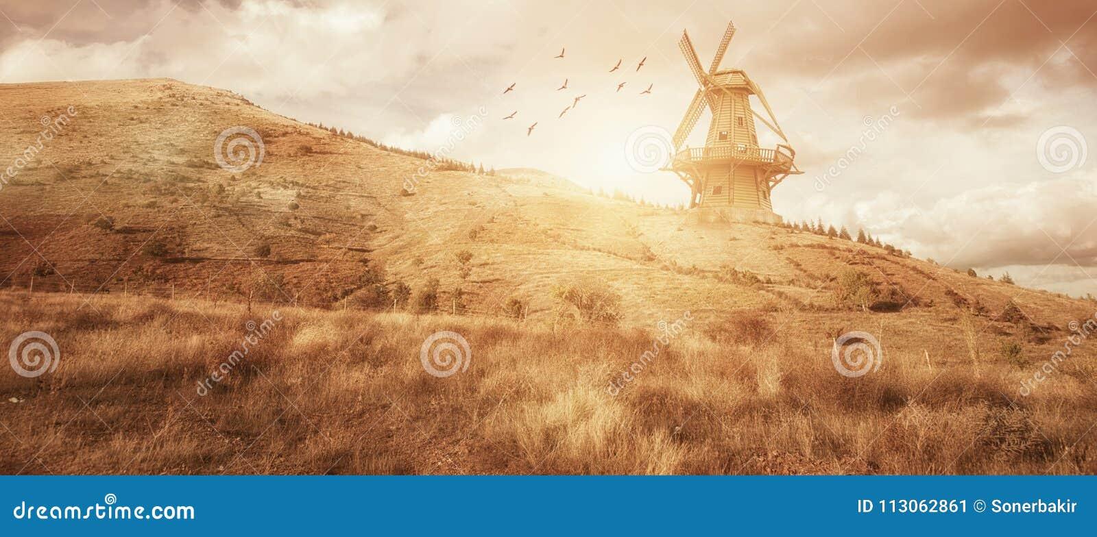 Paisaje hermoso de la granja del molino de viento del panaroma Comcept de la agricultura
