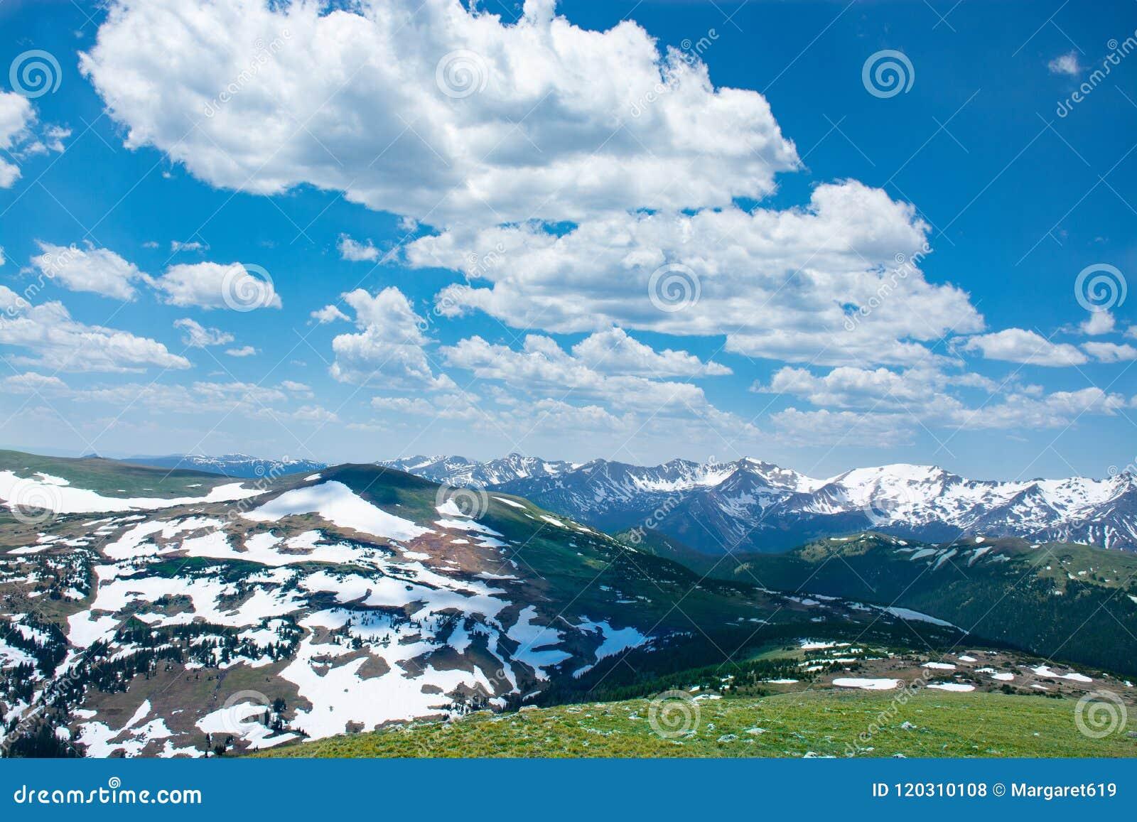 Paisaje hermoso de la primavera de Colorado con los prados verdes y las montañas nevadas