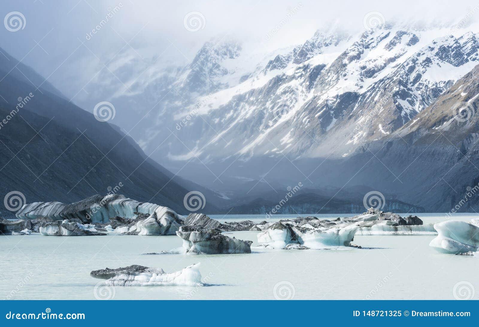 Paisaje hermoso del iceberg en Nueva Zelanda