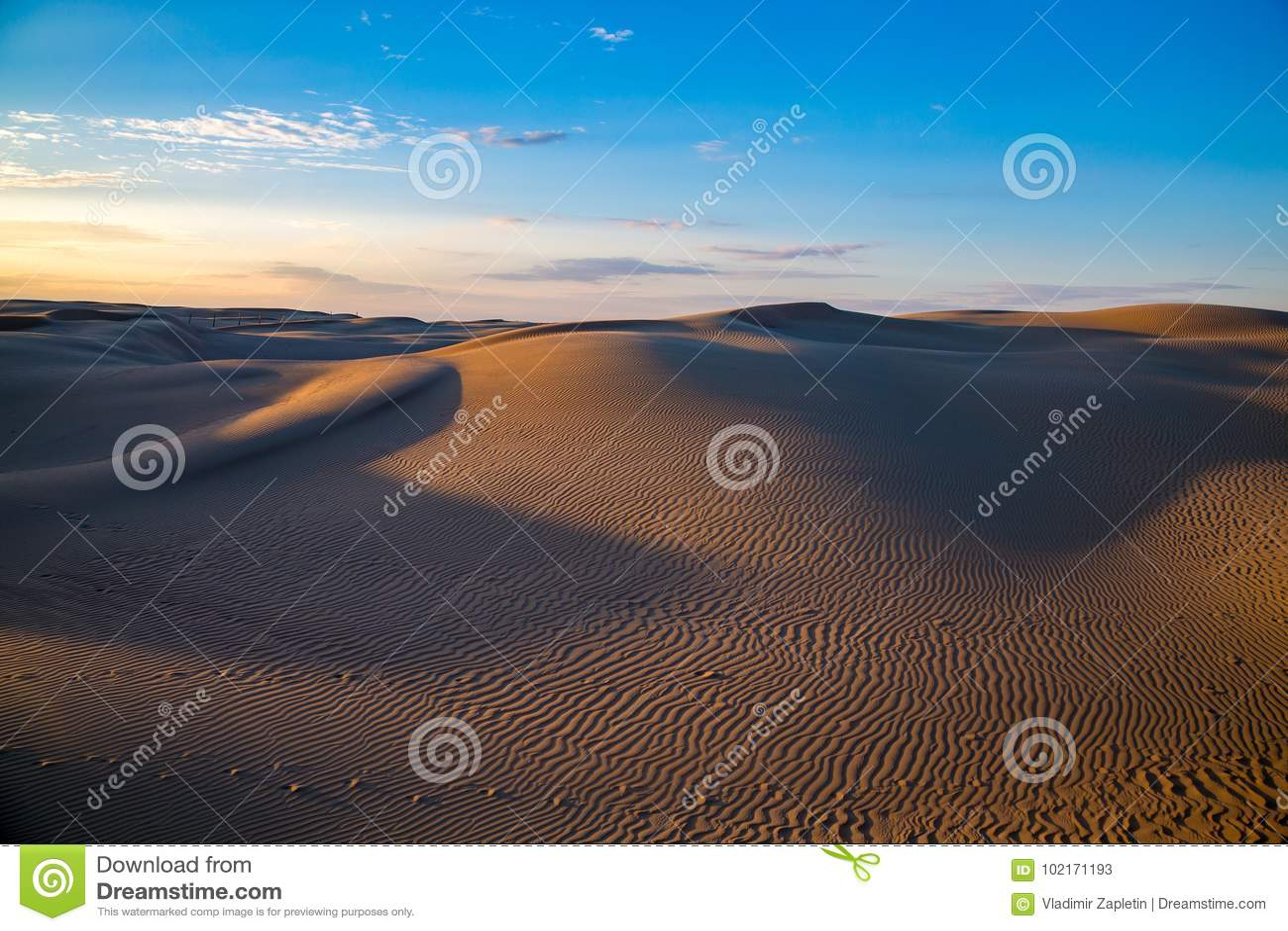 Paisaje hermoso natural del desierto, dunas de arena en fondo azul del cielo de la tarde