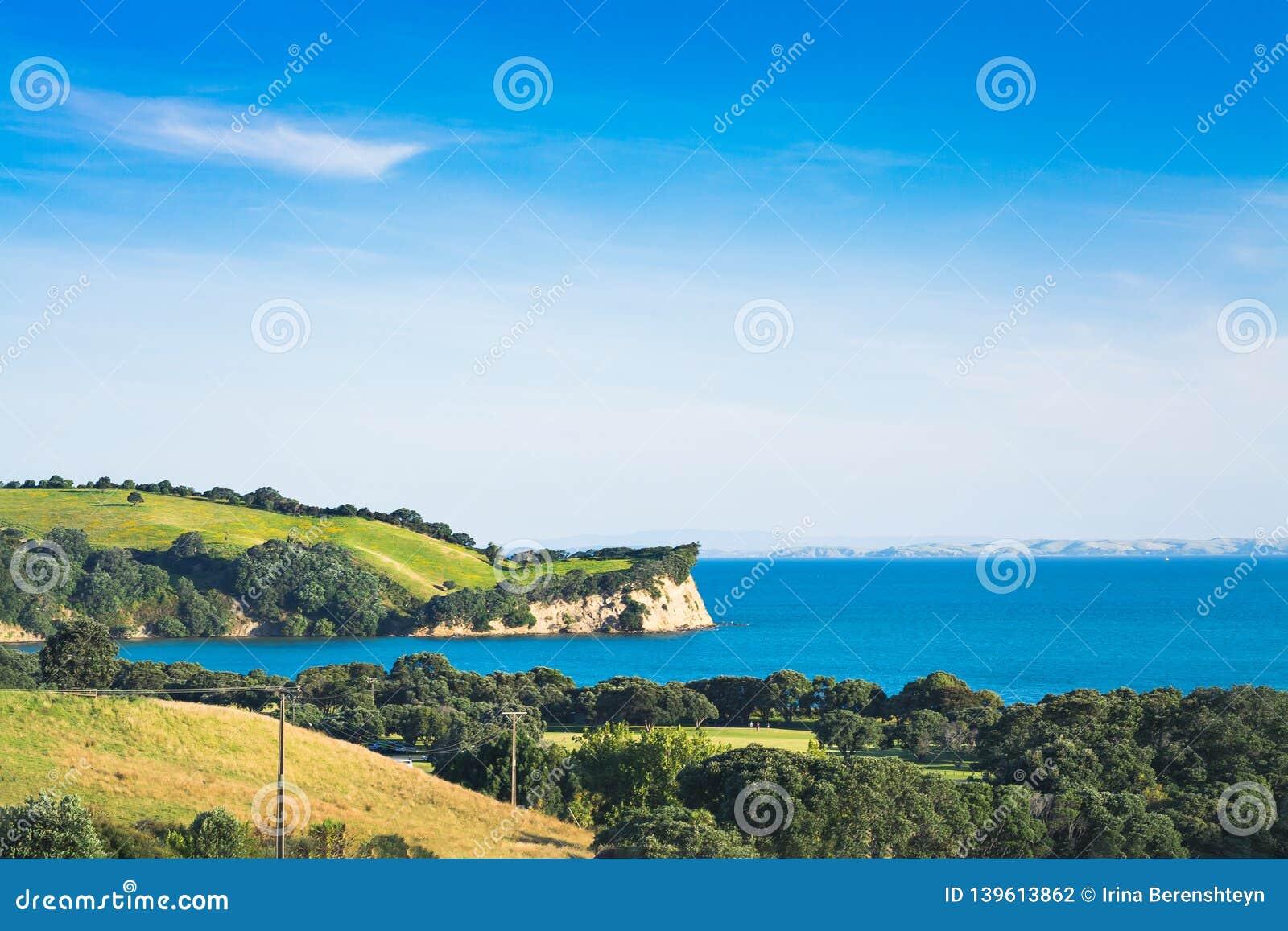 Paisaje icónico de Nueva Zelanda - colinas verdes y acantilado enormes sobre el mar azul