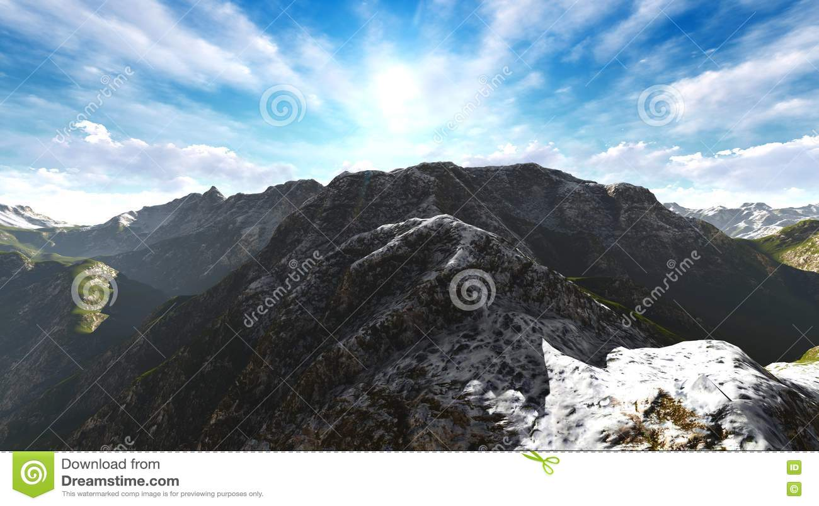 Paisaje idílico del verano en la representación de las montañas 3d