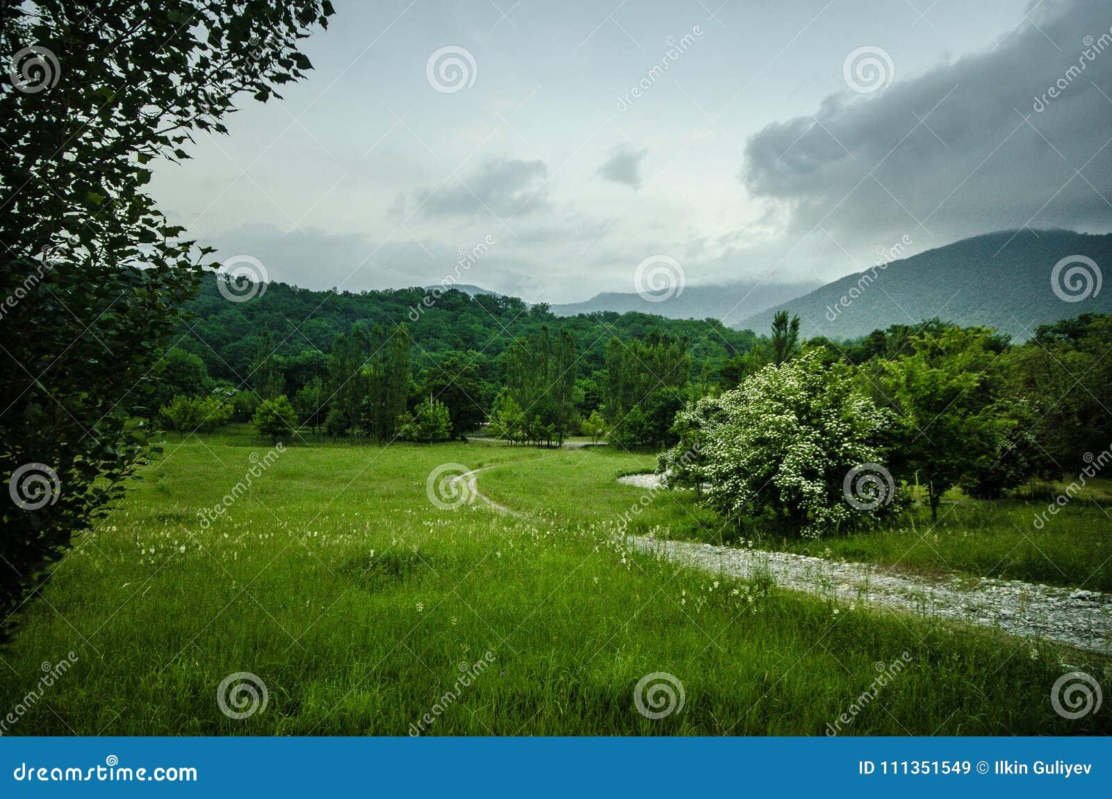 Paisaje majestuoso de montañas y del prado Camino de ciclo de la montaña Camino de la montaña brumosa en altas montañas Cielo nub