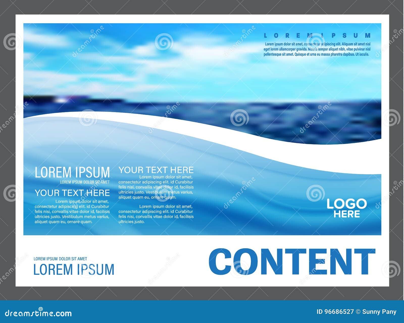 Paisaje marino y fondo de la plantilla del diseño de la disposición de la presentación del cielo azul para el negocio del viaje d