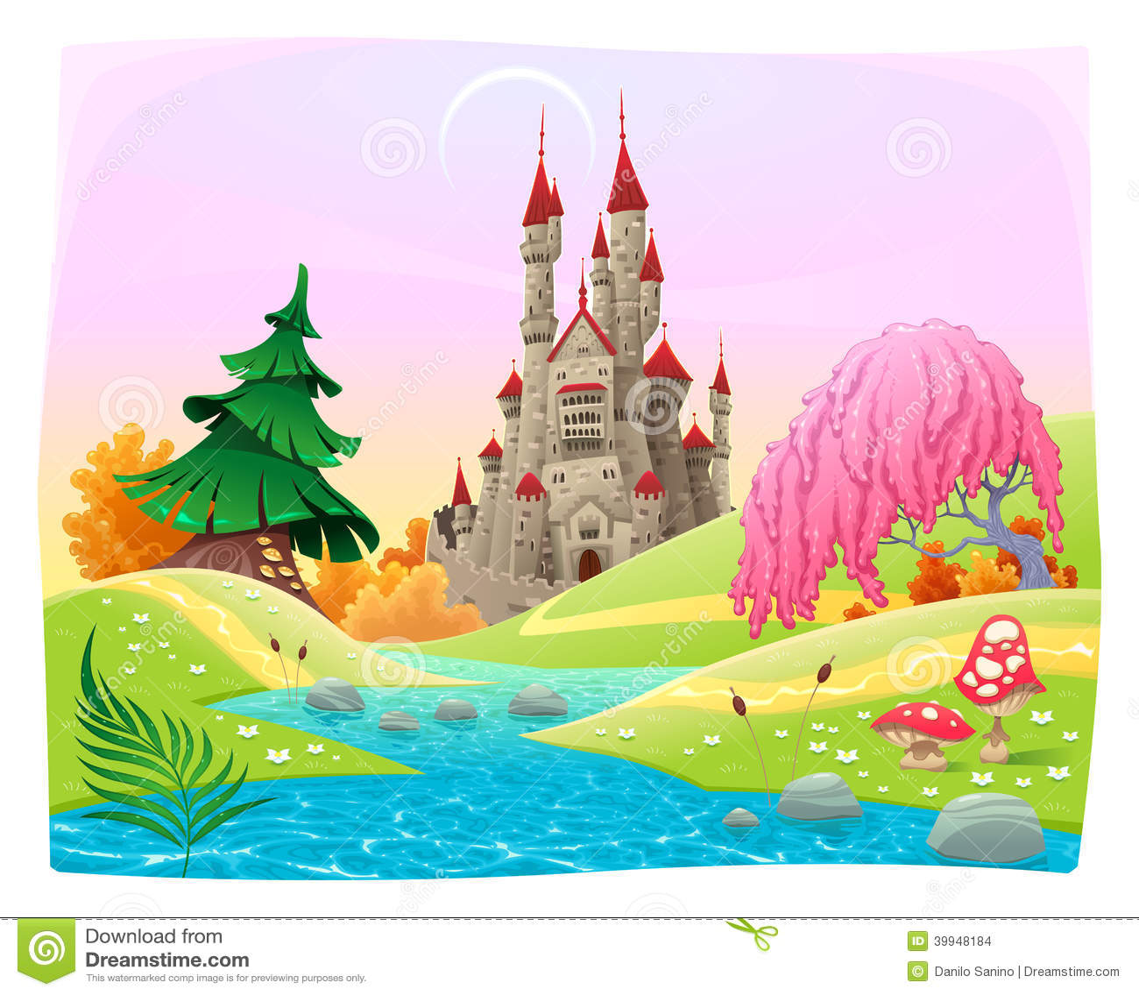 Paisaje mitológico con el castillo medieval.