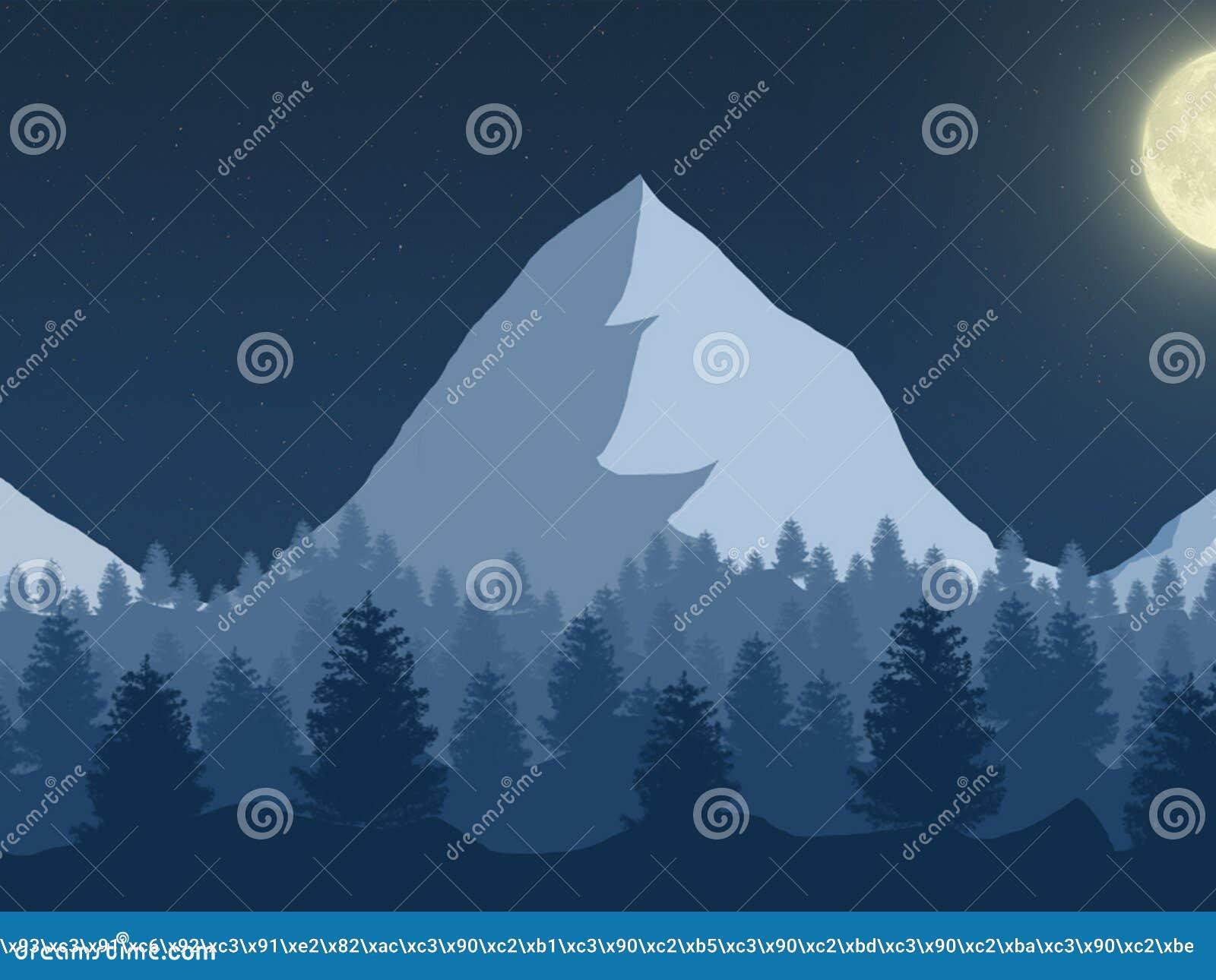 Paisaje muy hermoso de la noche de la montaña