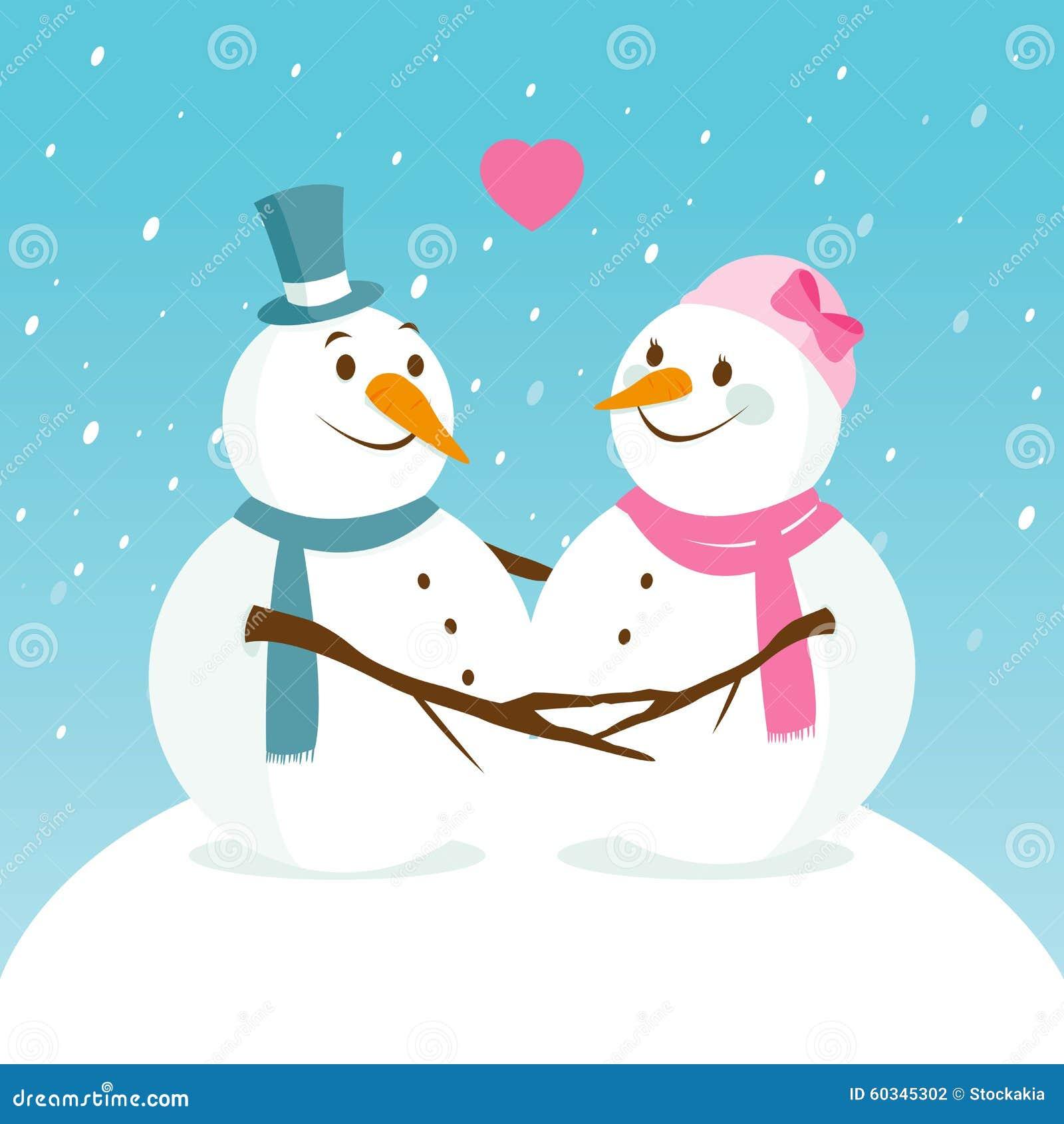 Paisaje Nevado Con Los Muñecos De Nieve Lindos En Amor Ilustración ...