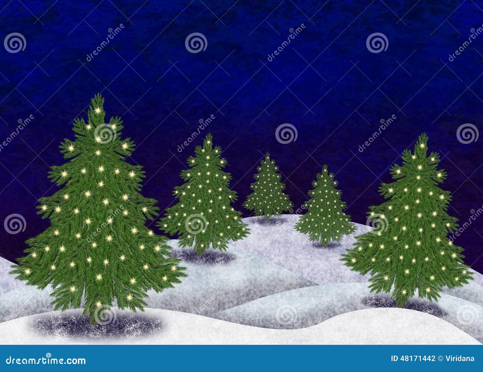 Paisaje nevado con los rboles de navidad stock de - Paisaje nevado navidad ...