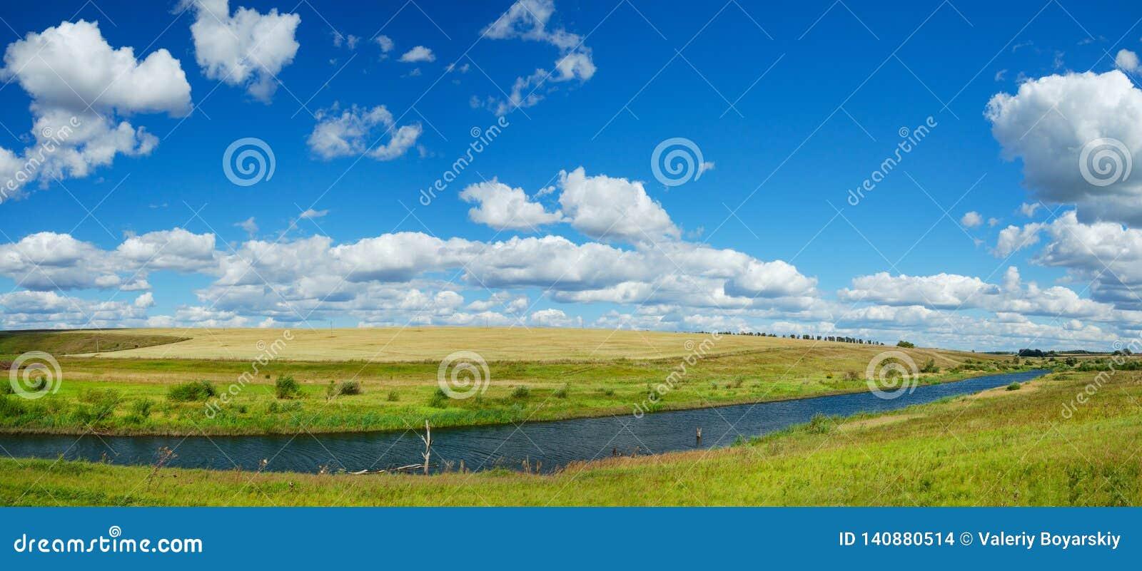 Paisaje panorámico del verano soleado con el río, los campos de oro, las colinas verdes y las nubes hermosas en cielo azul
