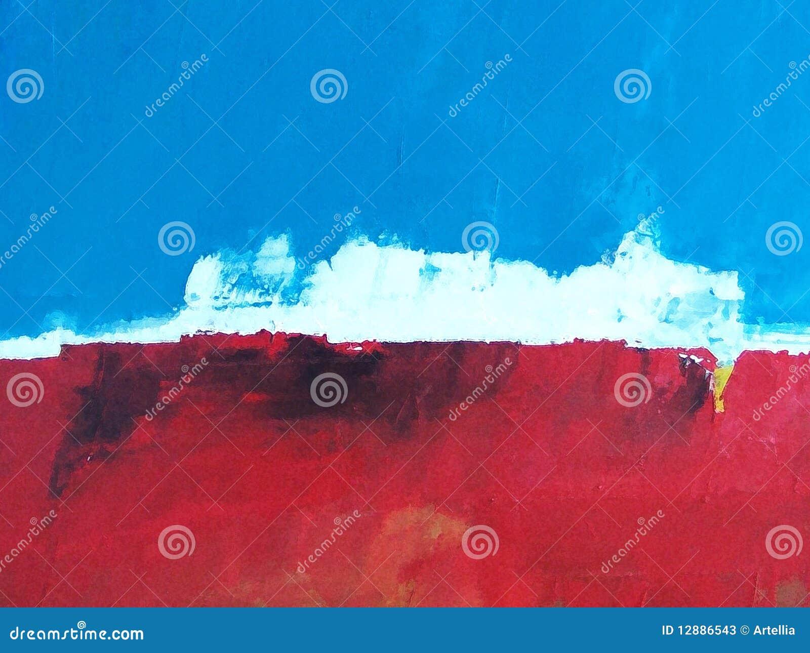 Paisaje pintado/cielo + océano abstractos de la isla