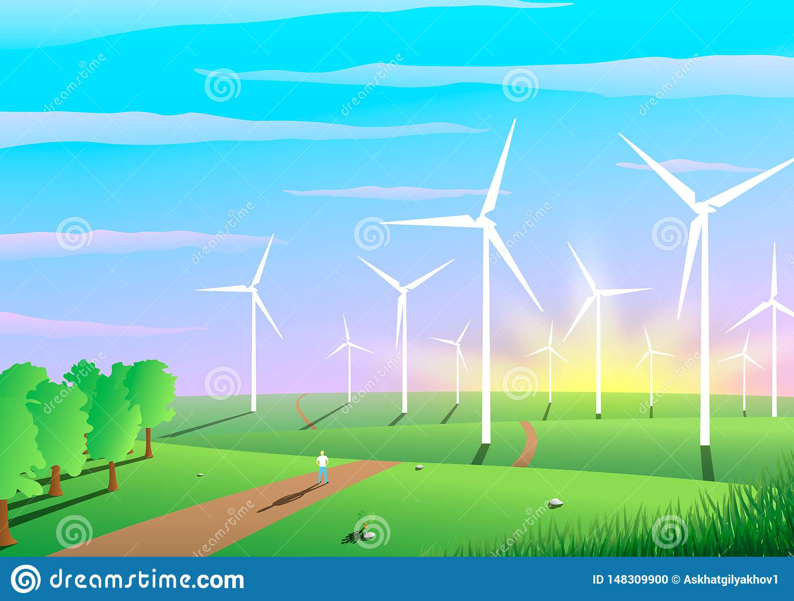 Paisaje pintoresco de un parque eólico, concepto de la ecología