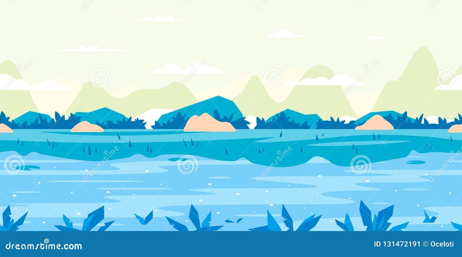 Paisaje plano del fondo del juego del flujo del río