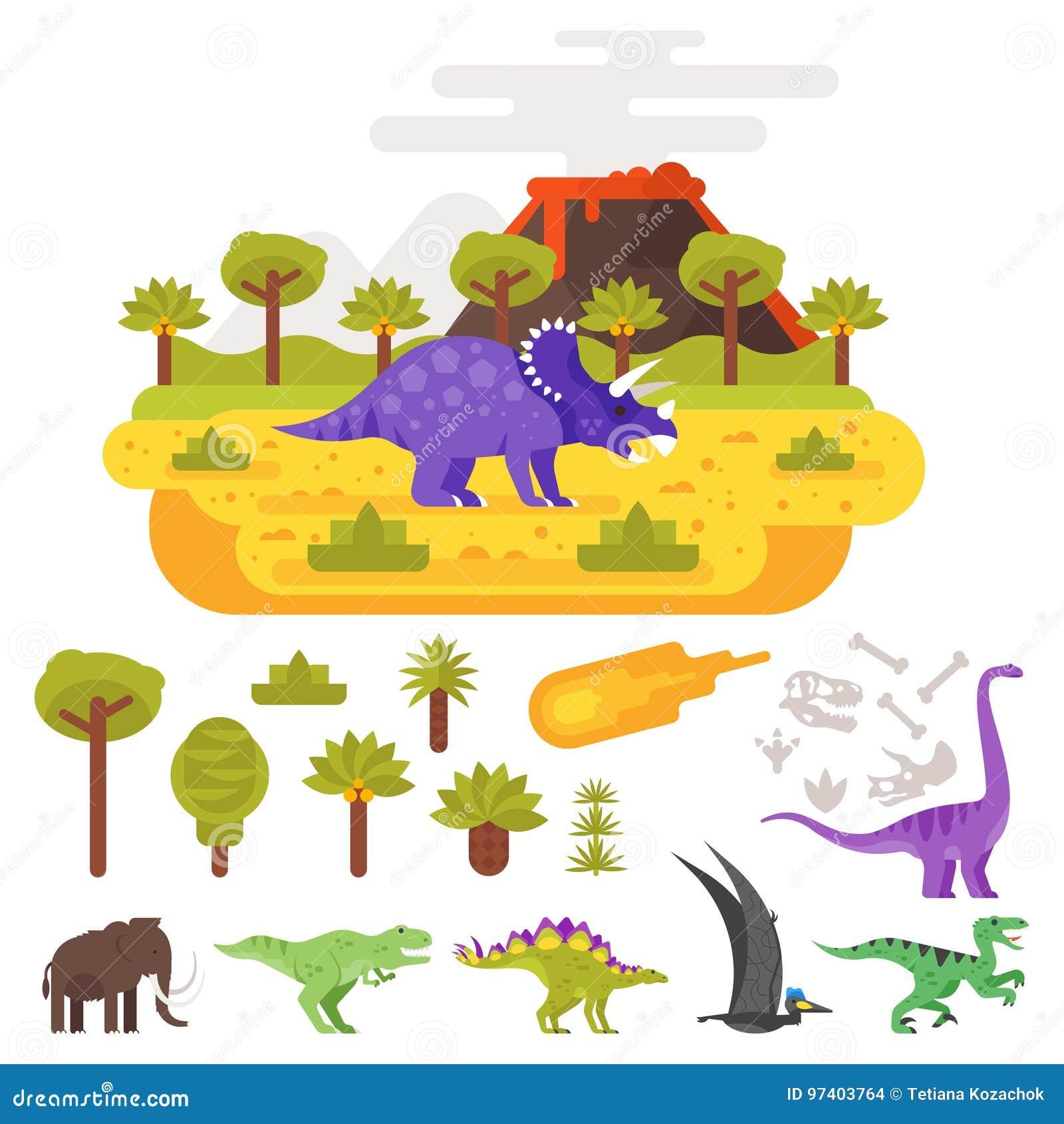 Paisaje prehistórico y volcán con los dinosaurios