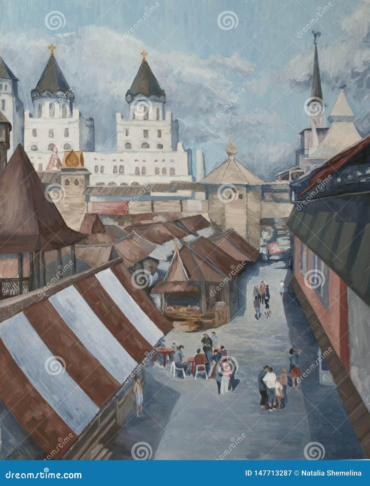 Paisaje retro de la ciudad con los palacios y las catedrales