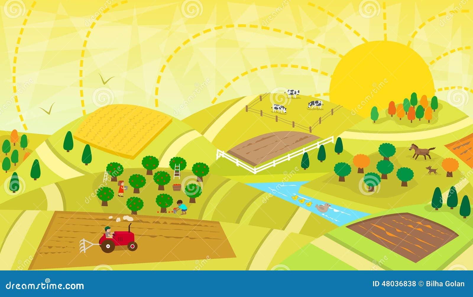 Paisaje rural ilustraci n del vector imagen 48036838 - Dibujos infantiles del espacio ...