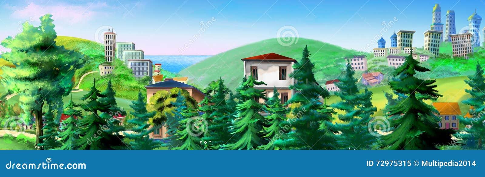 Paisaje rural con los árboles y los edificios Spruce en fondo