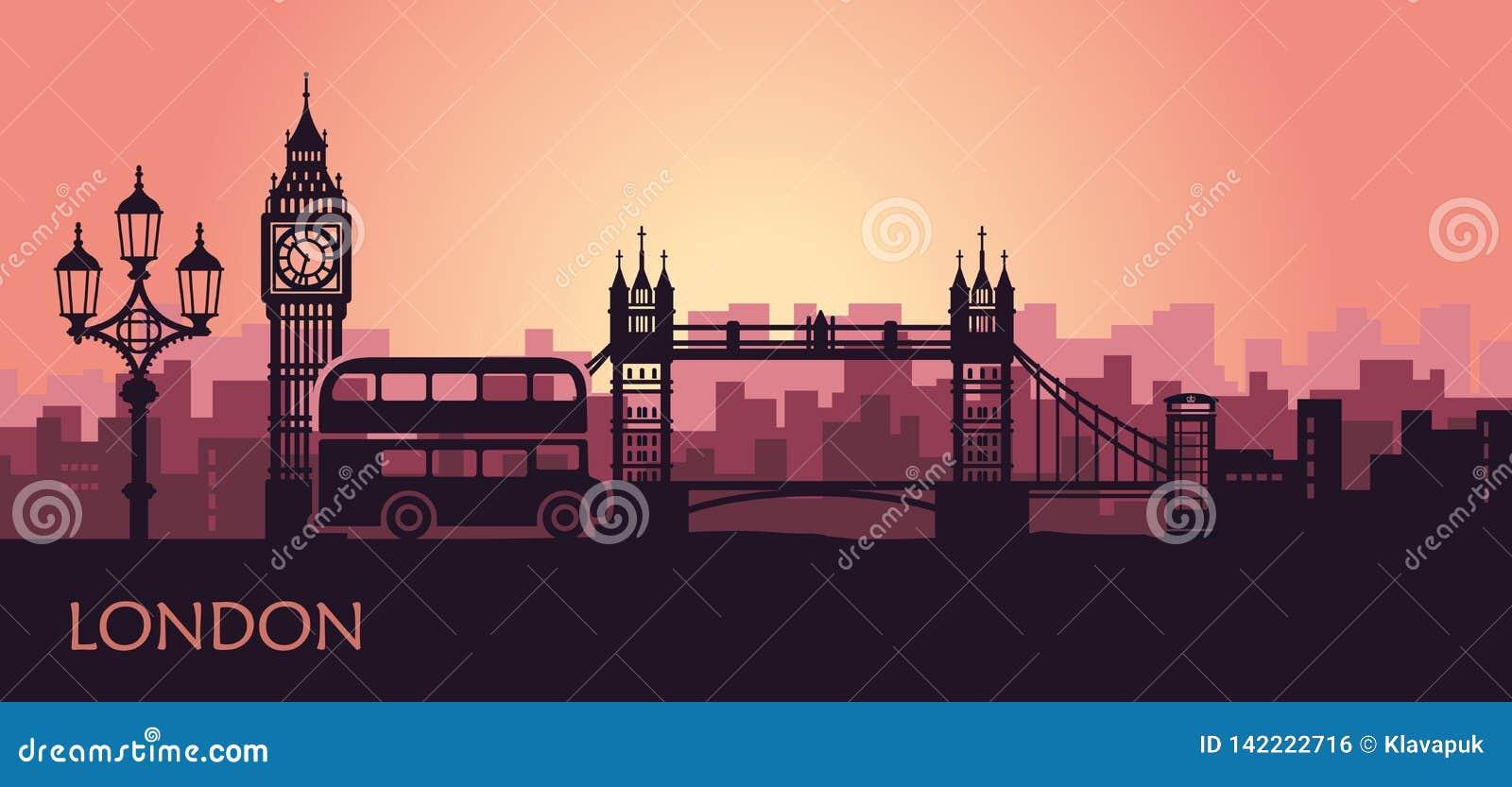 Paisaje urbano abstracto de Londres con las vistas en la puesta del sol