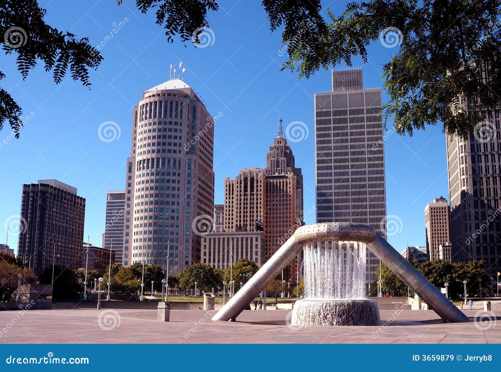 Paisaje urbano céntrico de Detroit