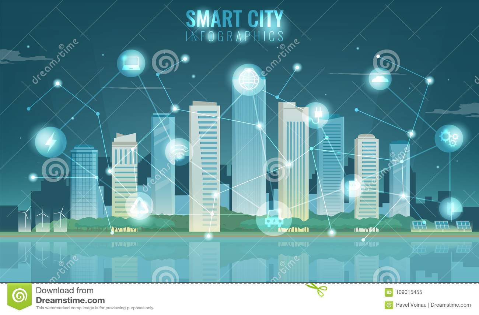 Paisaje Urbano Con Los Elementos Infographic Ciudad Moderna Ciudad ...