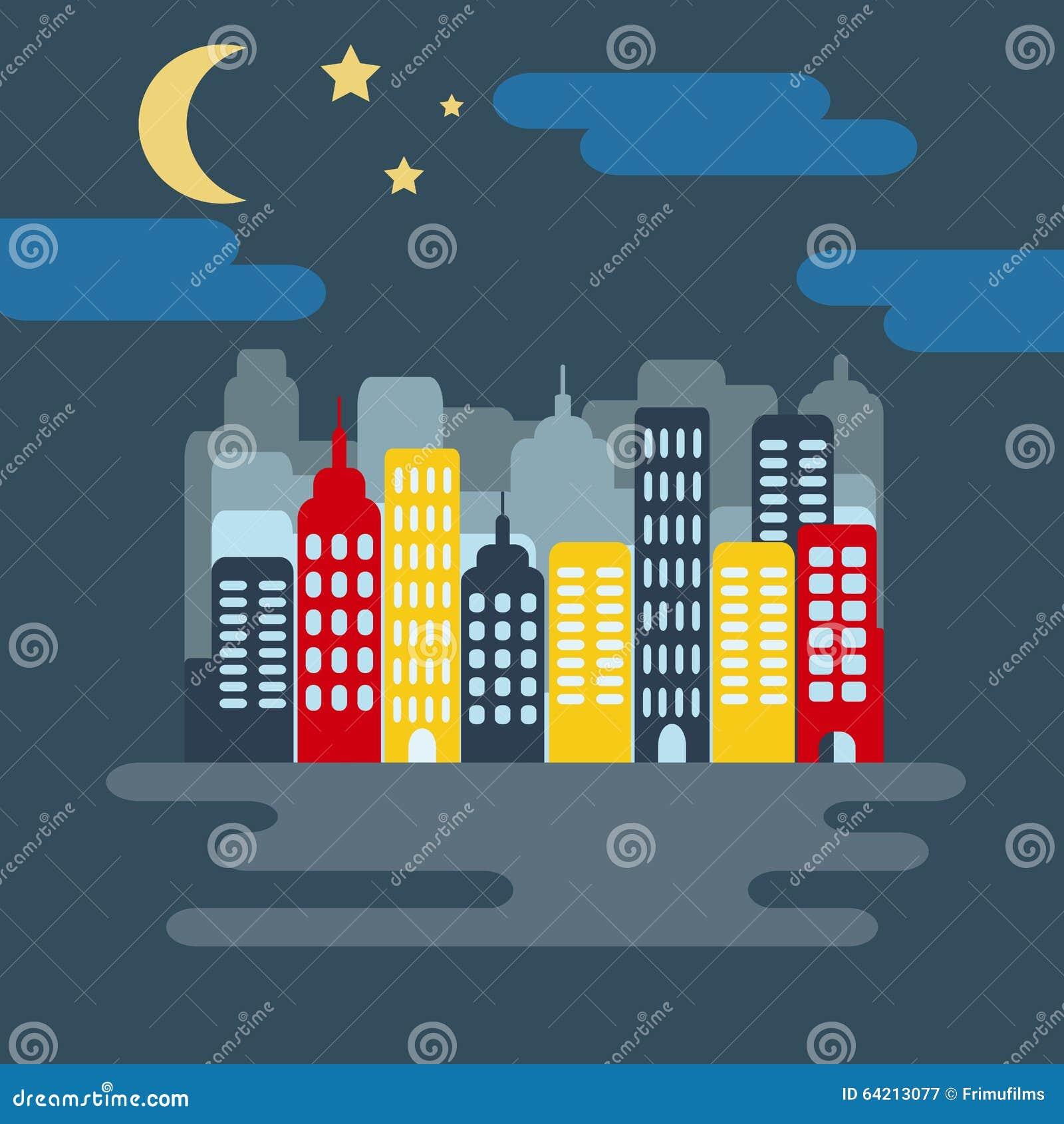 Paisaje urbano con Skyscarpers y media luna en la noche