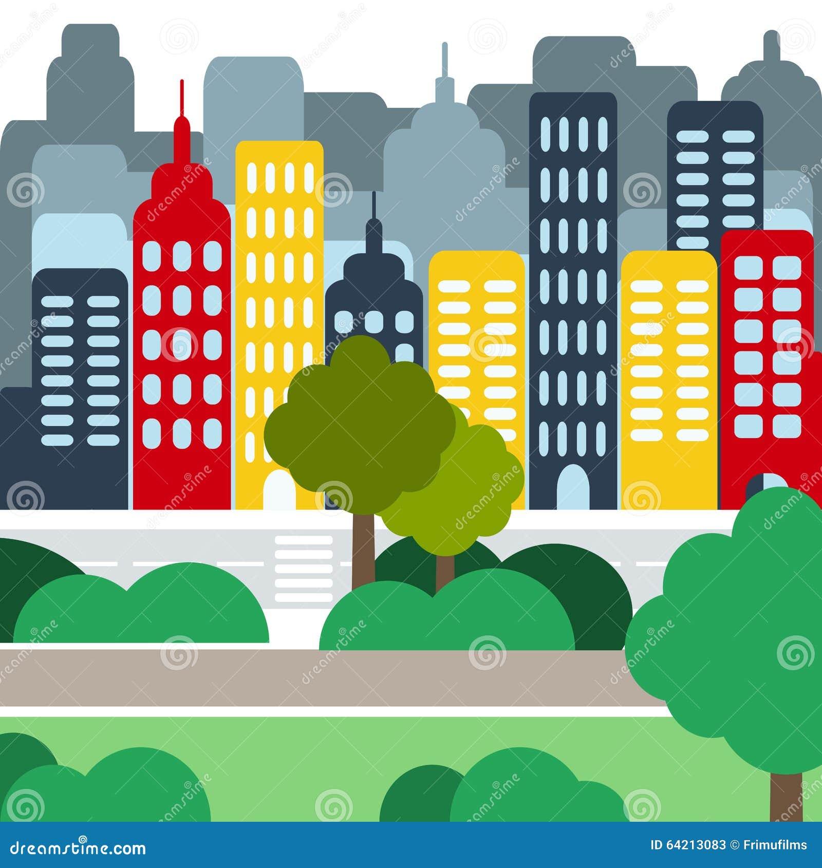 Paisaje urbano con Skyscarpers y parques en el d3ia