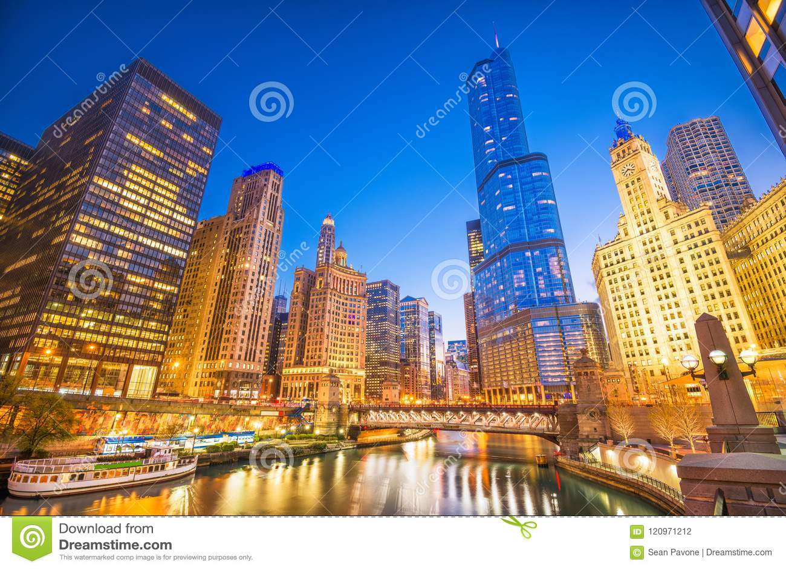 Paisaje urbano de Chicago, Illinois, los E.E.U.U.