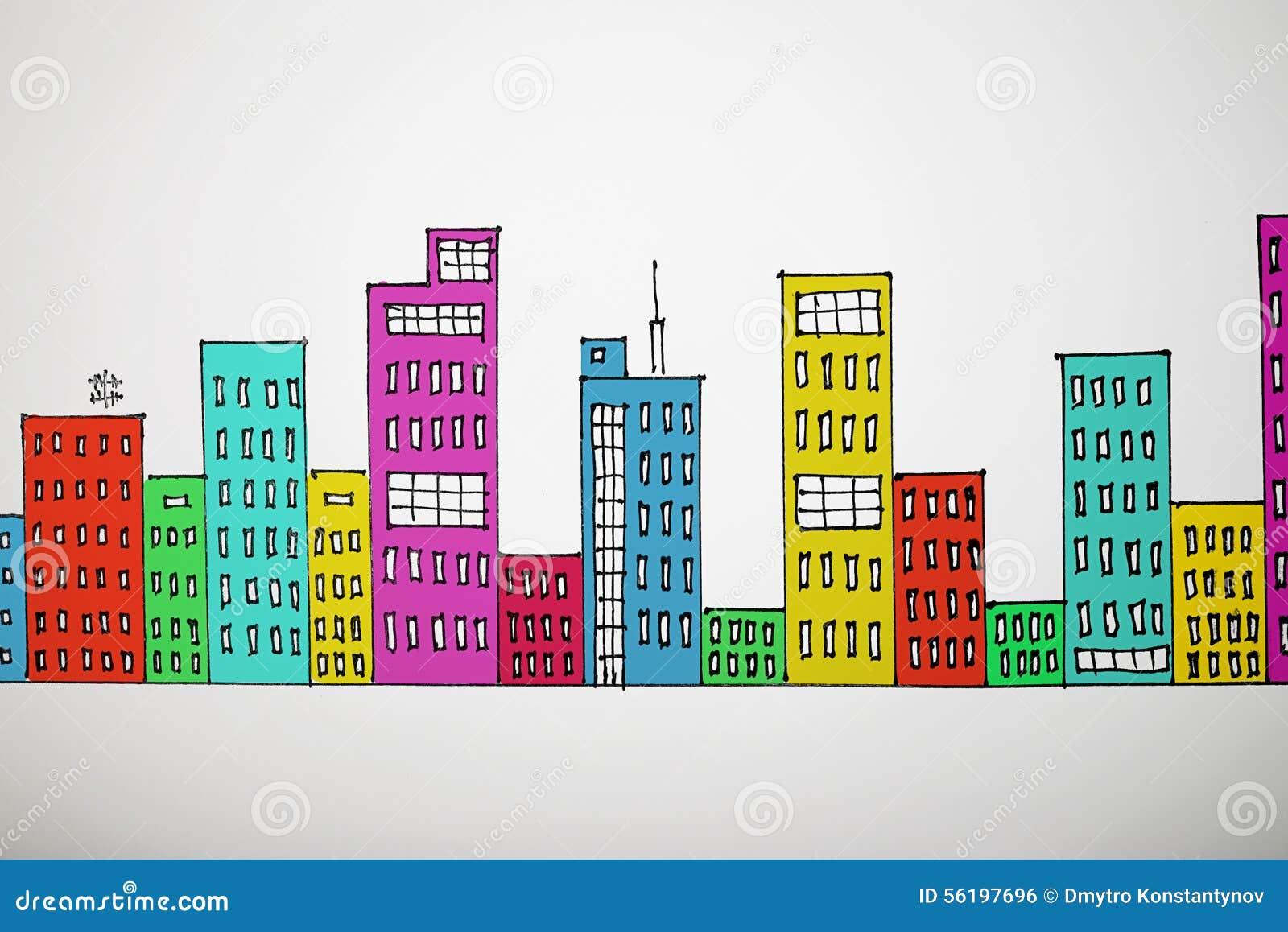 Paisaje urbano de dibujo Mucho-coloreado