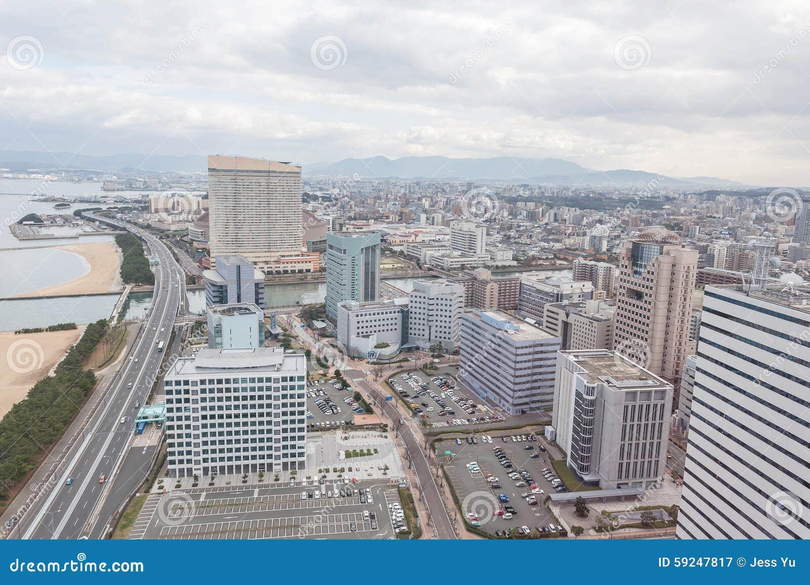 Paisaje urbano de Fukuoka en Japón