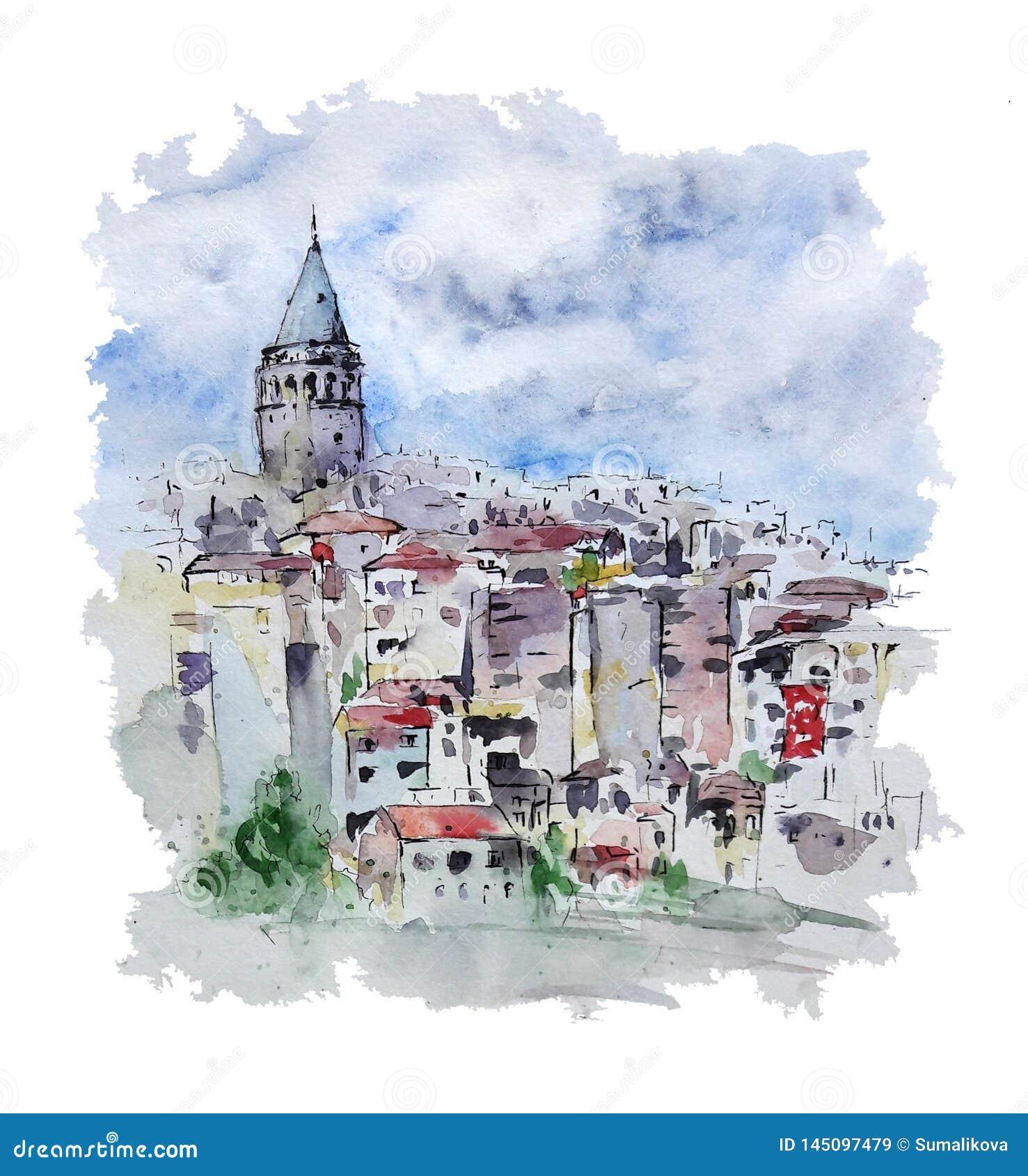 Paisaje urbano de la acuarela con la torre de Galata, Estambul, Turquía
