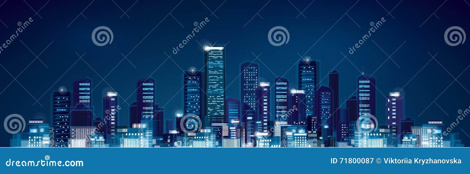 Paisaje urbano de la noche del vector