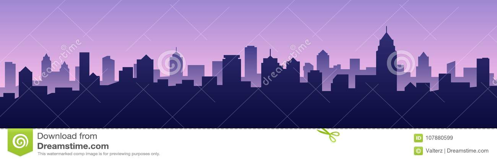 Paisaje urbano de la silueta del horizonte de la ciudad del fondo del ejemplo del vector