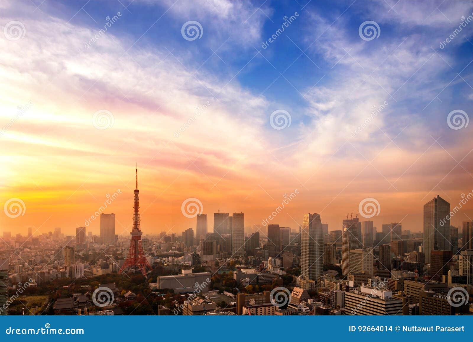 Paisaje urbano de Tokio, opinión aérea del rascacielos de la ciudad del buildi de la oficina
