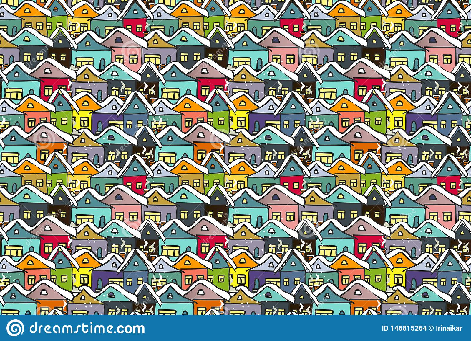 Paisaje urbano del invierno Muchos dan casas multicoloras exhaustas
