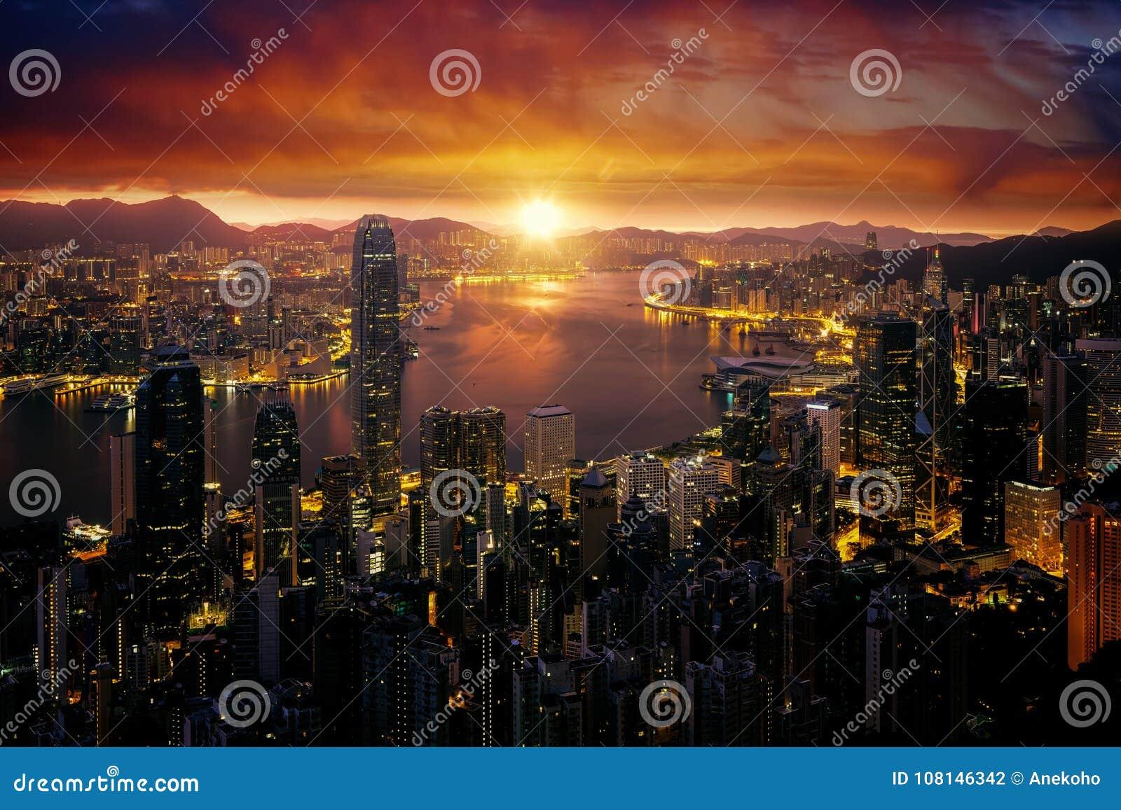 Paisaje urbano del PE de Victoria del fron de la salida del sol de Marning y de la ciudad de Hong-Kong