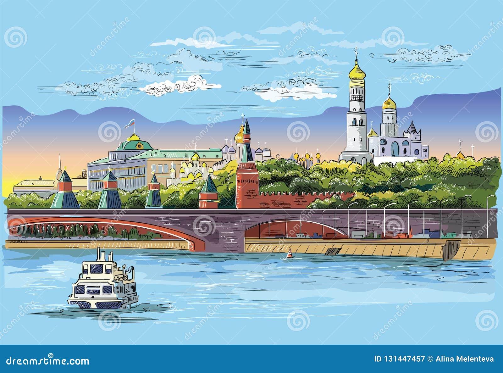 Paisaje urbano del terraplén de las torres y del puente del Kremlin a través de la Plaza Roja del río de Moscú, vector aislado co