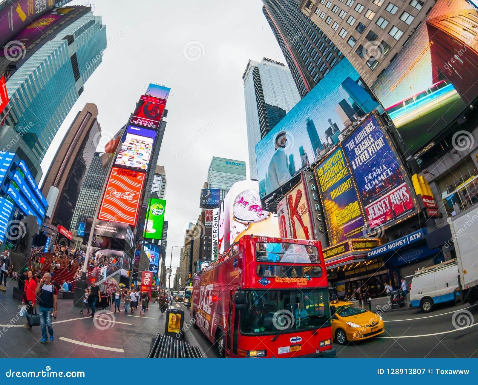 Paisaje urbano del tiempo del día de Time Square