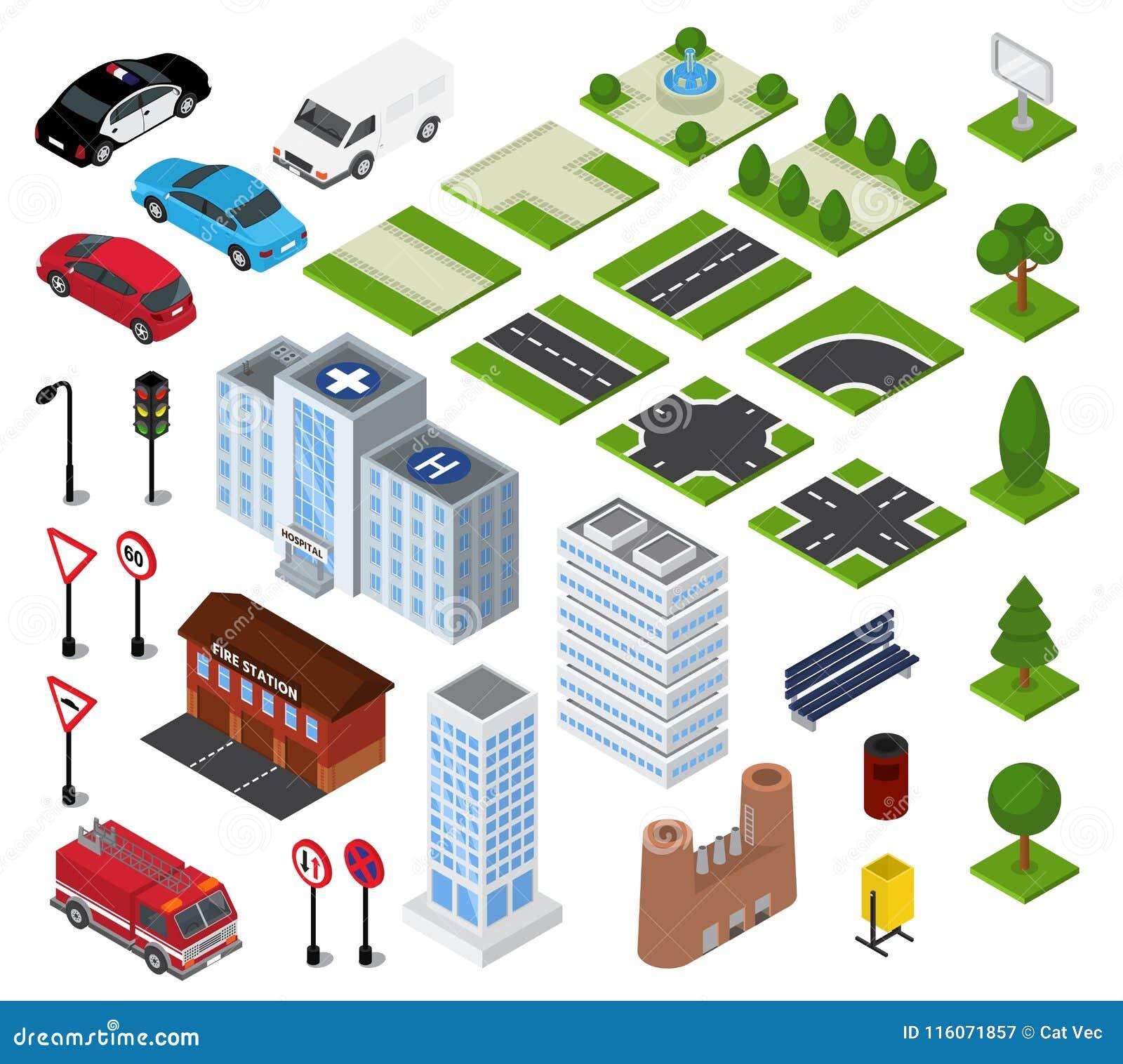 Paisaje urbano urbano del vector isométrico de la ciudad con arquitectura del edificio o construcción en sistema del ejemplo de l