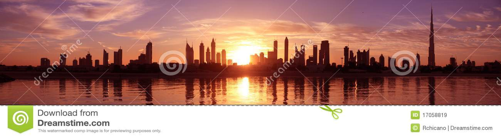 Paisaje urbano dubai, salida del sol