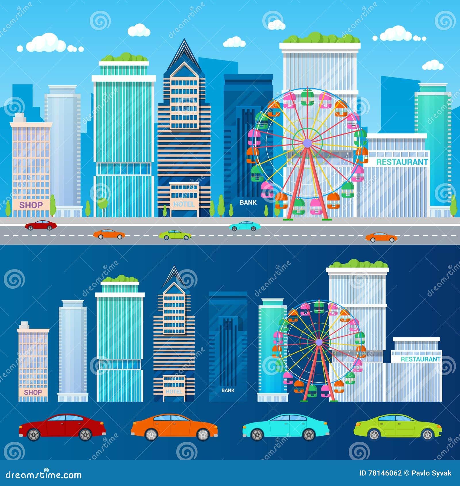 Paisaje urbano moderno con los rascacielos Ferris Wheel y los coches