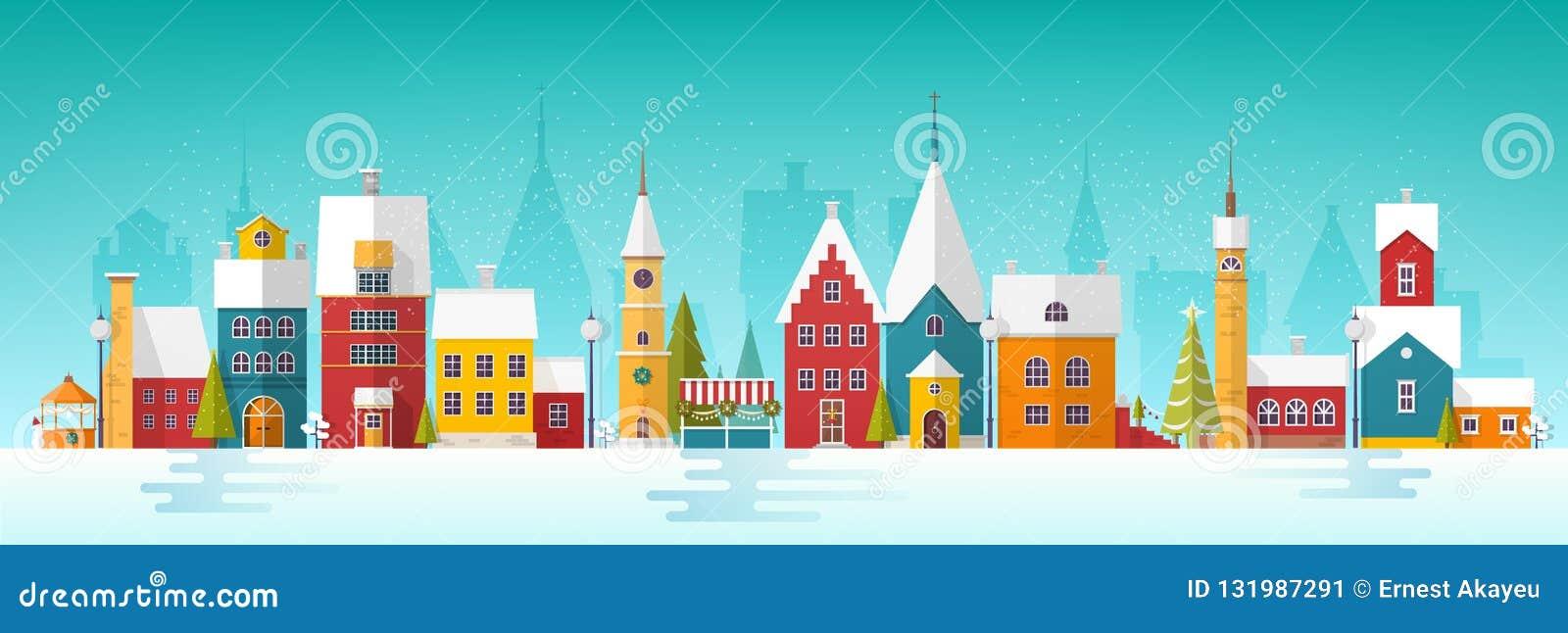 Paisaje urbano o paisaje Nevado con la ciudad Calle de la ciudad con las fachadas de torres antiguas y de edificios adornados por