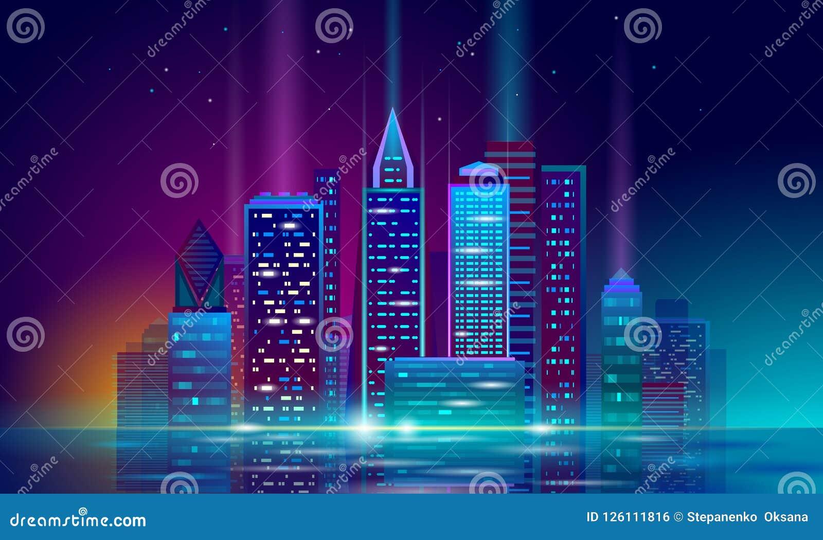 Paisaje urbano que brilla intensamente del neón elegante de la ciudad 3D Concepto futurista del negocio del edificio de la noche