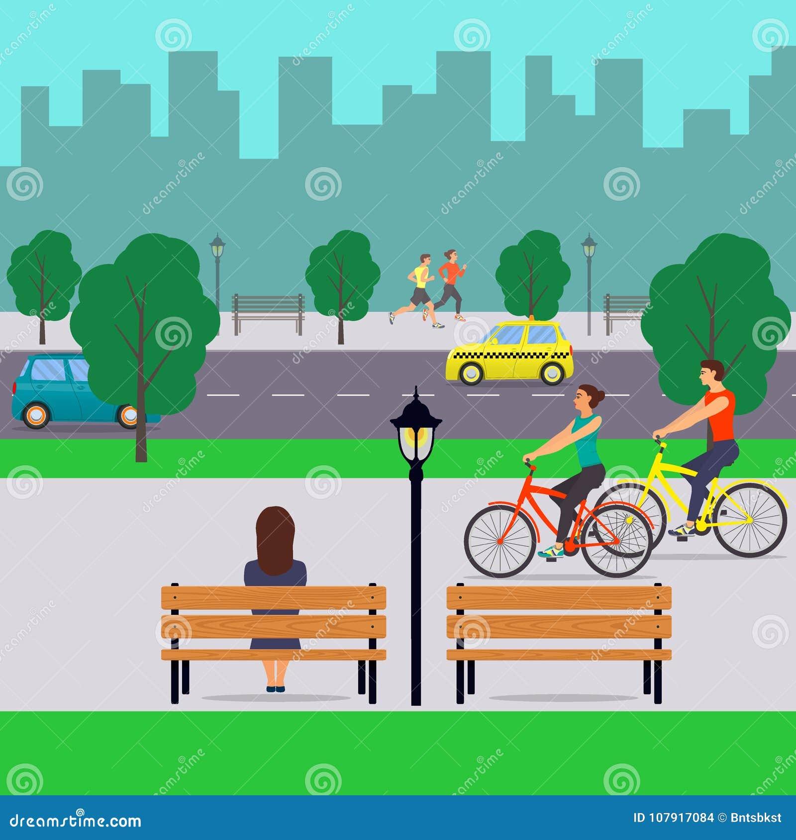Paisaje urbano y gente Calle de la ciudad con los coches, ciclistas, peatones, árboles, edificios altos, bancos, farolas Vector l