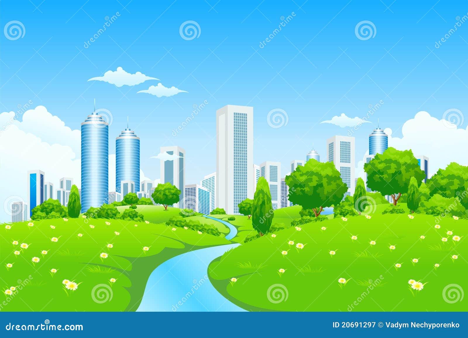 Paisaje verde con la ciudad