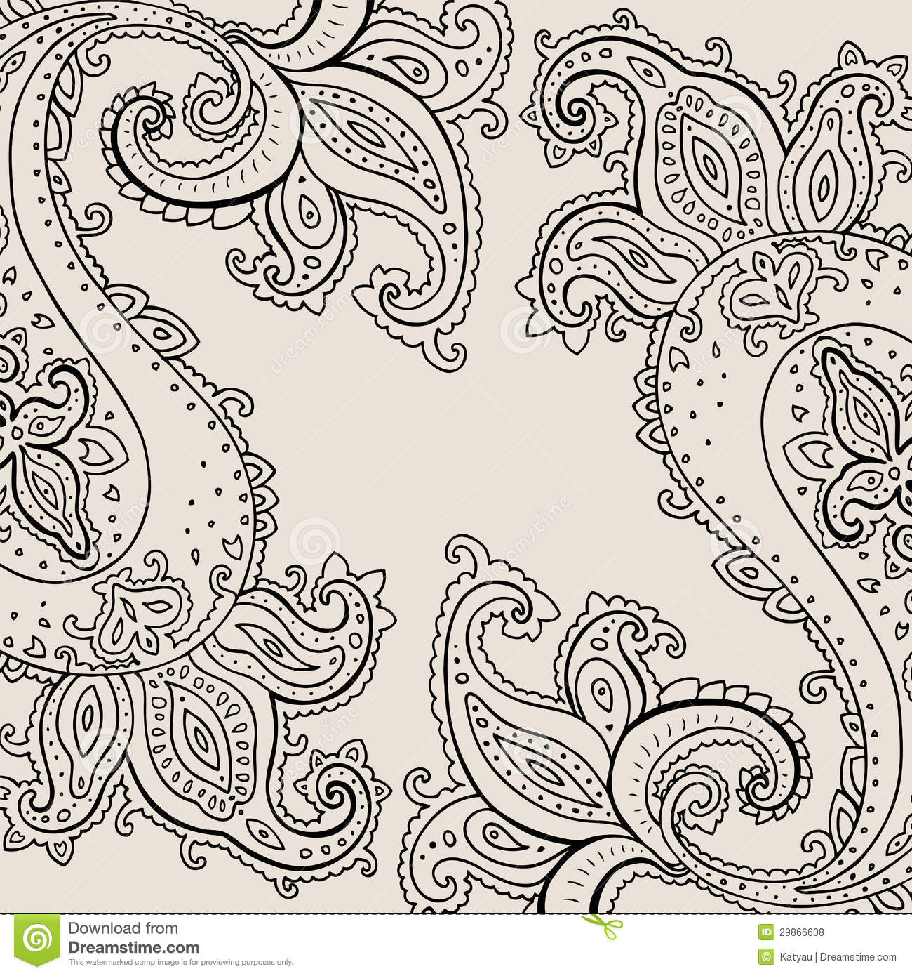 Hand Drawn Paisley Ornament. Royalty Free Stock Photos - Image ...