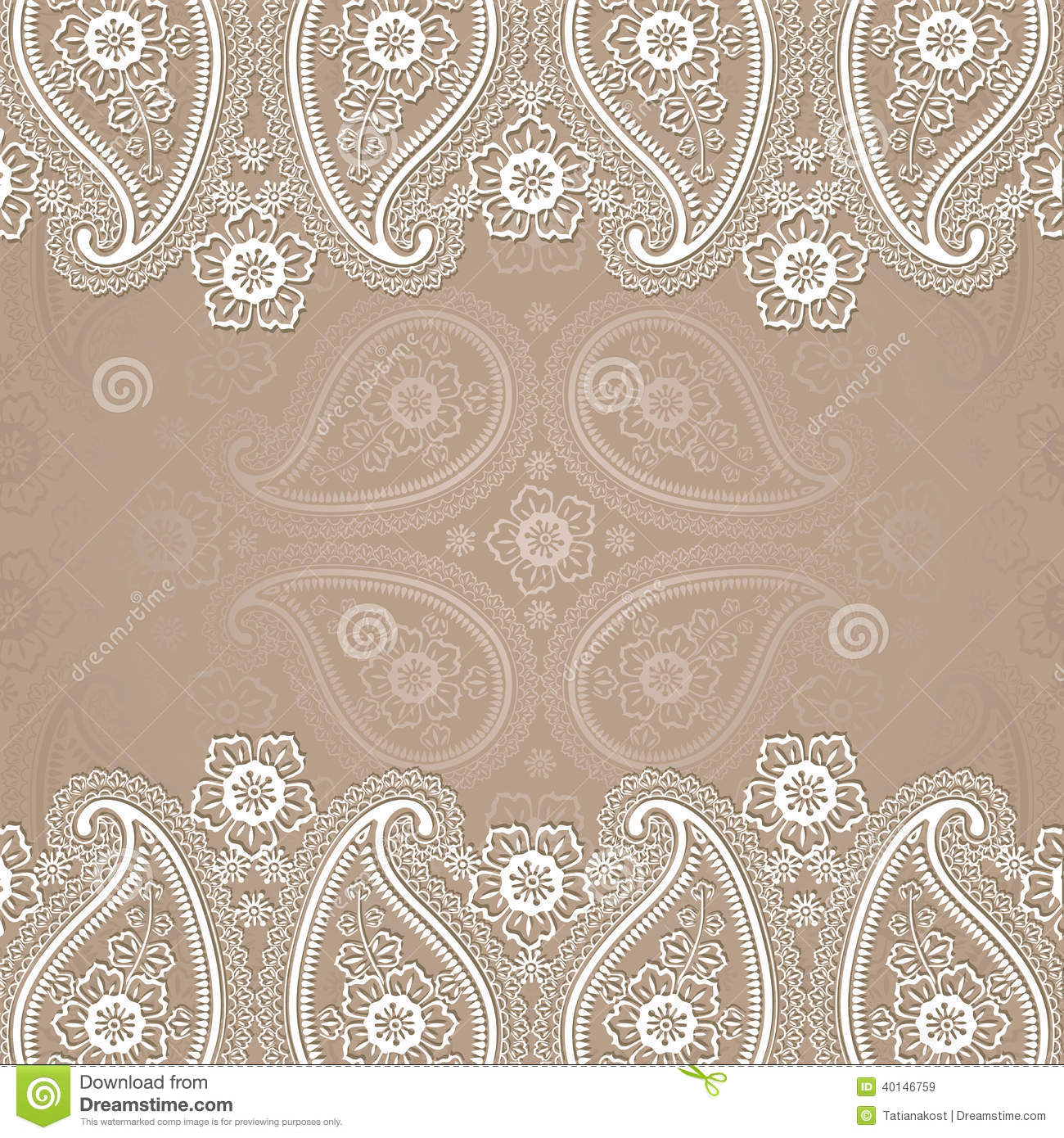 Paisley Border Lace Design Template Stock Vector - Illustration of ...