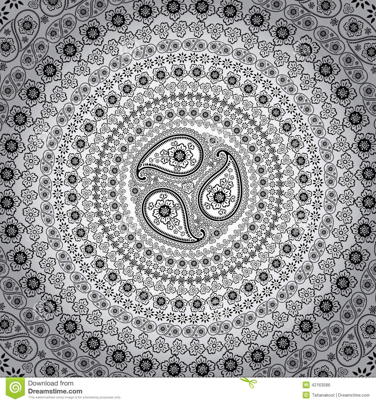 paisley circle background vector oriental motif stock vector image 42163586. Black Bedroom Furniture Sets. Home Design Ideas