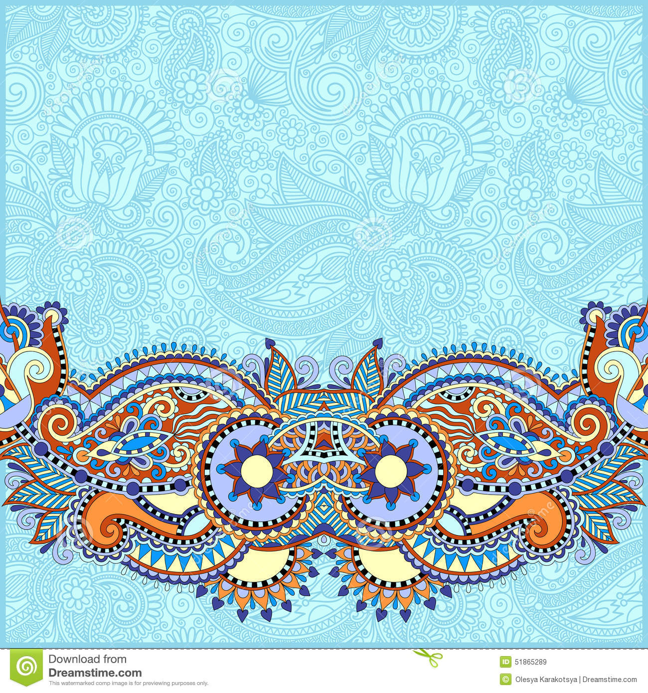 Paisley Design On Decorative Floral Background For Stock Vector