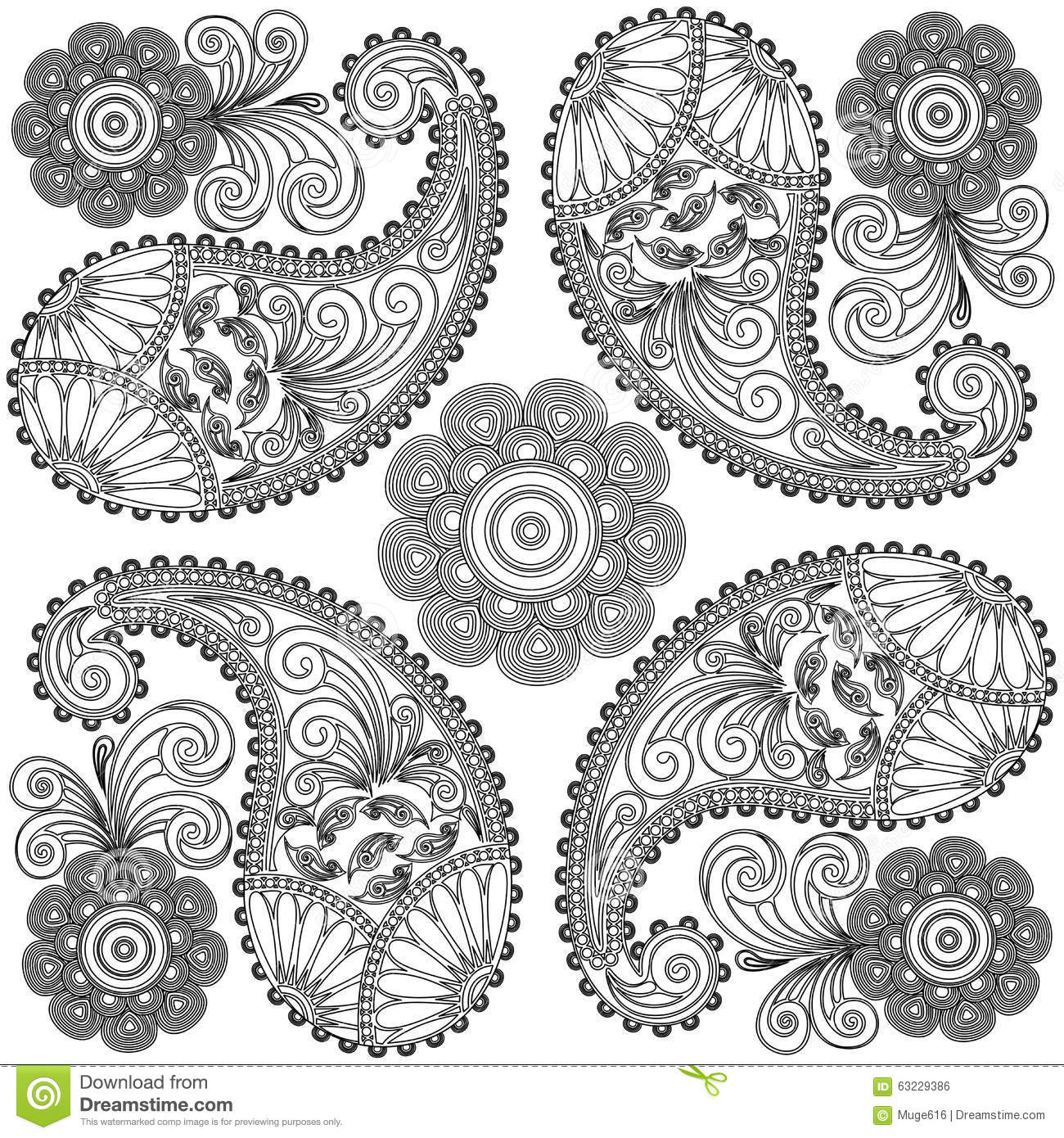 Paisley Doodlesblack And White Mandalacoloring Pages