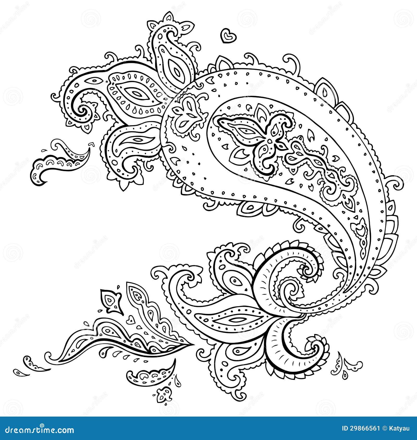 Hand Drawn Paisley Ornament. Stock Image - Image: 29866561